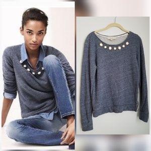 Loft heather blue sweater jeweled canochon neck
